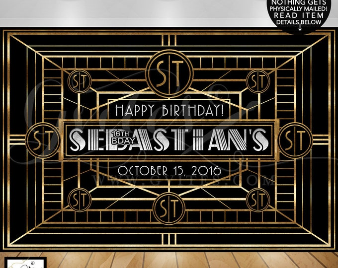 Great Gatsby Backdrop, sweet 16 birthday photo booth backdrops, personalized customizable Gatsby wall backdrop poster sign, Teen BOY