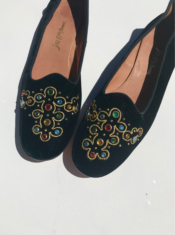 Saks Fifth Slides | 8 black velvet gold embroidery BAROQUE style inspired ruby 90s vintage leather sole slip ons flats shoes preppy  5th ave