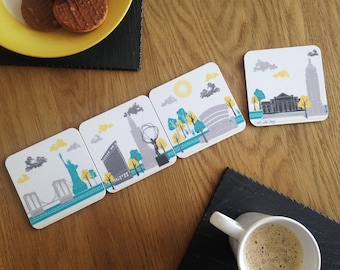 New York Skyline / Drink Coasters / Gifts For Travelers / New York Coasters / New York Gift / Manhattan Skyline / New York City/ Travel Gift