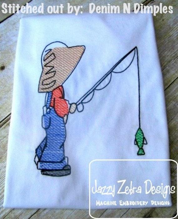 Fishing Buddy Sketch Embroidery Design - boy Sketch Embroidery Design - fishing Sketch Embroidery Design