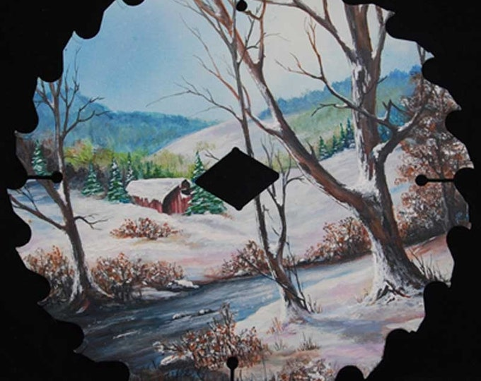 Hand Painted Saw Blade w/Winter scene -sold