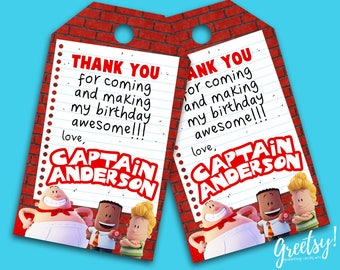 Captain Underpants Thank You Tags, Captain Underpants Birthday Favor Tags, Captain Underpants Party Tags, Captain Underpants Goody Bag Tags