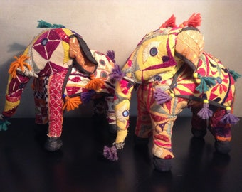 Vintage embroidered patchwork textile stuffed elephant from India