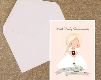 Holy Communion Cute Blonde Hair Girl Invitation DIGITAL FILE