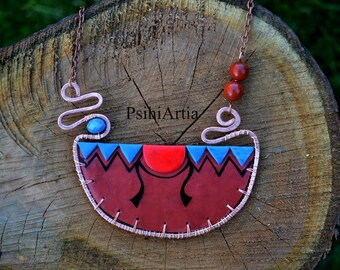 Egyptian collar necklace Egyptian style jewelry Egyptian necklace Egyptian jewelry Polymer clay creations Copper wire necklace Polymer clay