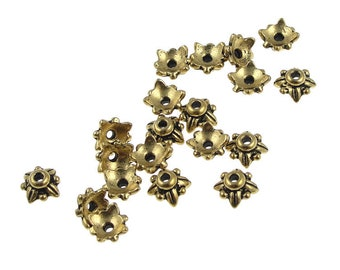 20 or more Gold Bead Caps TierraCast 5MM LEAF Antique Gold Beadcaps - Tierra Cast Small Caps for 6mm Beads - Jewelry Beads  (PC4)