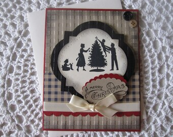 Handmade Greeting Card: Vintage Family Christmas