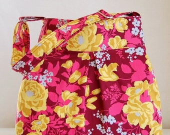 CLEARANCE Rose Bouquet Fabric Pleated Hobo Handbag / Purse - READY TO Ship