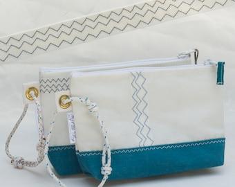 Turquoise Wristlet Clutch, Recycled Sail Cloth, Canvas bag, zipper pouch, nautical sailbag