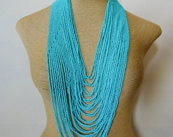 Statement Tribal necklace Philippine necklace Turquoise bead necklace Woven bead necklace