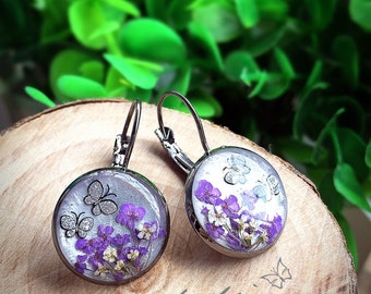 Glitter white earrings,silver plated lever back earrings,purple&white dried flower,butterfly-glitter earrings,resin jewelry,luxury earrings