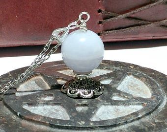 Blue Chalcedony, Crystal Ball, Goddess Jewelry, Fortune Teller, Metaphysical Jewelry, Pagan, Wiccan, Oracle, Divination, Seer, Gypsy Magic