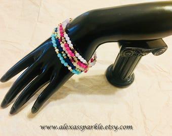Set of five beaded jade bracelets - Set de cinco pulseras de piedra jade
