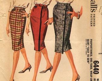 McCall's 6440 ONE YARD Wrap Around Skirt VINTAGE 1960s ©1962