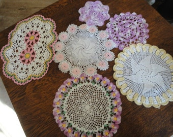 Assortement Of 6 Small Crocheted Colorful Doilies Hand Crocheted