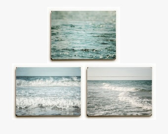 Blue Beach Decor Wood Sign Set: Teal Beach Decor Set of 3 Wood Plank Prints, Aqua Ocean Art on Wood, Wood Pallet Beach Signs, Beach House.