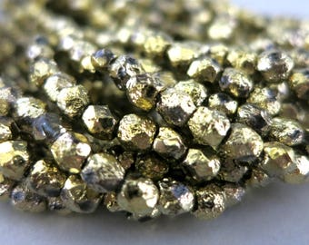4mm Gold Ore Etched Beads, Faceted Fire polished, Czech Glass, Strand of 50