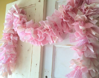 Baby Girl Shower Decoration Pink fabric Garland Banner.  Handmade 6-10 Feet Unique Party Backdrop.  Made to Order