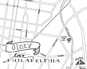 Olney Hand-Drawn Map Philadelphia 8x10