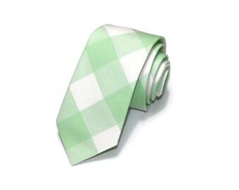 Mint Buffalo Plaid Necktie~Anniversary Gift~Wedding Tie~Boys Necktie~Mens Necktie~Wedding~Mens Tie~Boys Tie~Mens Gift~Mint Green Gingham
