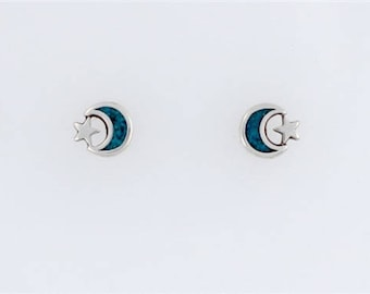 Sterling Silver Turquoise Moon and Star Post or Stud Earrings