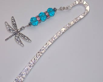 Blue Glass Bead and Pink Crystal Encrusted Rondelles Dragonfly Tibetan Silver Bookmark