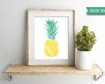 Digital Download - Pineapple Print - Watercolor Print - Gallery Wall Art - Tropical Print - Tropical Wall Art - Beach Decor - Tropical Decor