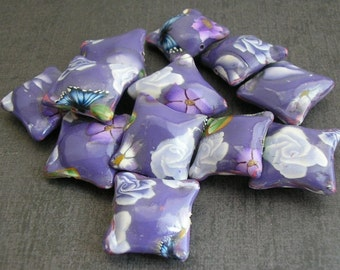 Lavender Pillow Beads, Polymer Clay Beads, Flower Beads, Dozen  - Made to Order
