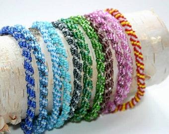 Handmade spiral glass bead bracelets
