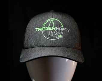 Weed Eater Hat Black Heathered TRIGGER HAPPY GO.