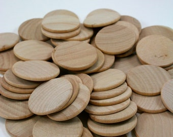 "100 Unfinished Wood Discs | Wooden Disc Coins Circles - 1.5"" (3.8cm) Diameter - Wood Disk"