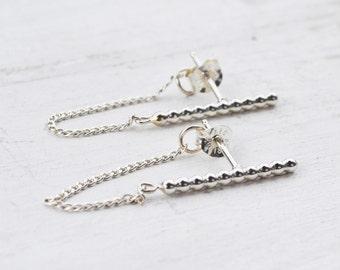 Beaded Chain Bar Earrings, Sterling Silver Chain Post Earrings, Minimalist Bar Stud Earrings, Simple Chain Earrings, Dangle Bar Earrings