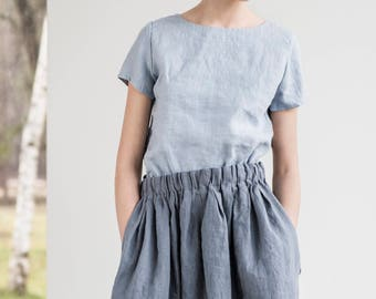 Comfortable linen skirt with wide elastic waistband