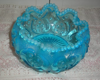 Opalescent Blue  Beaded Candy Dish