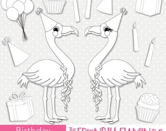 Flamingo birthday digital stamp, party digi stamp, scrapbooking, stamping, coloring, greeting card design, bird outline PNG clipart (ST012)