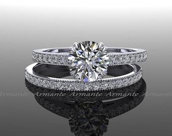 Forever One Moissanite Engagement Set / Vintage Style Diamond And Moissanite Wedding Set / 14K White Gold / Round Moissanite / Re00019W
