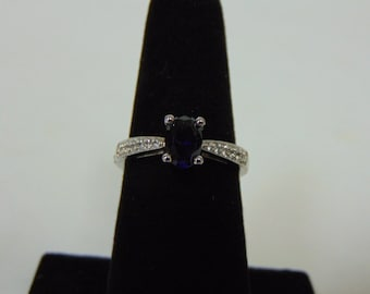 Womens Sterling Silver .925 Ring w/ Diamond Cut Sapphire Colored Stone 2.9g #E2604