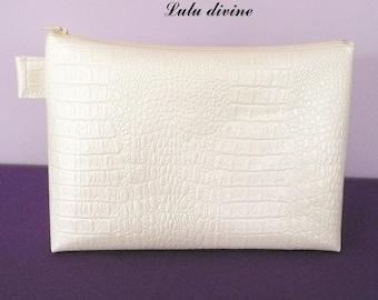 Toiletry bag in faux crocodile beaded ecru, off-white Zip waxed canvas