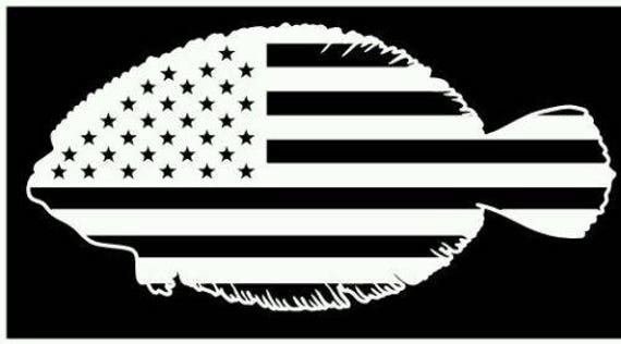 American Flag Flounder Fishing Vinyl Sticker Decal