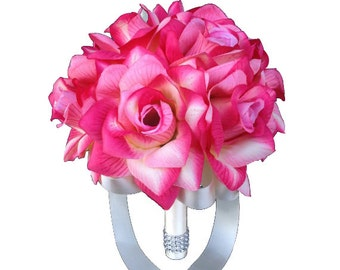 "8"" Bouquet - Shades of Pink and Ivory Rose Bouquet"