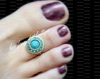 Turquoise Toe Ring, Tribal Ring, Tribal Toe Ring, Indian Ring, Indian Toe Ring, Acrylic Gold Toe Ring, Stretch Bead Toe Ring