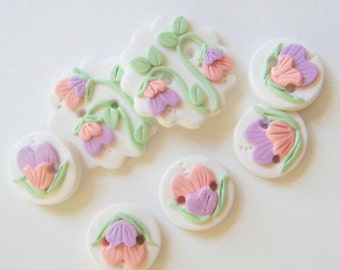 Button Pastel Sweetpea Flowers handmade polymer clay button set ( 7 )