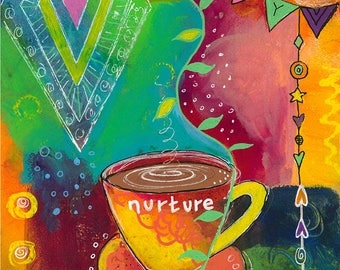 Multi Color Coffee Tea Cup and Saucer -021-Mixed Media Painting by Carianne James