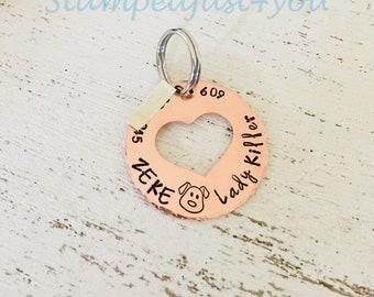 Handstamped Cat Name Tag, Dog Name Tag, Brass Pet Tag, Copper Pet Tag, Aluminum Tag