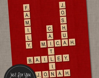 Family Christmas Gift - Scrabble Tiles Wall Art - Family Names or Words - Choose Color - Housewarming Gift, Anniversary - YOU PRINT 8x10