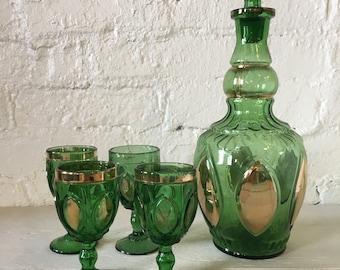 Vintage Ornate Green Glass Decanter Set - Port Wine Set, Brandy Set, Drinkware, Barware, Green and Gold Glass, Gold Gilded