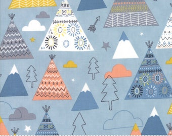 Moda Fabric - Wild and Free Sky 35312 15 by Abi Hall - Quilt, Quilting, Crafts, Teepee