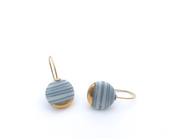 Minimalist earrings, ceramic jewelry, gold dipped earrings, porcelain earrings, Scandinavian Modern, black and white stripes
