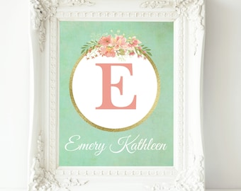 Personalized Nursery Wall Art, Coral Mint Nursery, Custom Name Print, Baby Girl Nursery, Baby Shower Gift, New Mom Gift, Gift For Baby