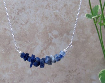 Raw Sodalite Necklace, Sodalite Crystal Necklace, Boho Jewelry, Bar Necklace, Layering Necklace, Natural Stone, Rustic Jewelry